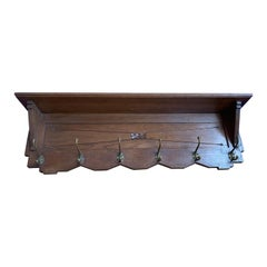 Beautiful and Practical Arts & Crafts Oak Wall Coat Rack with Bronze Hooks