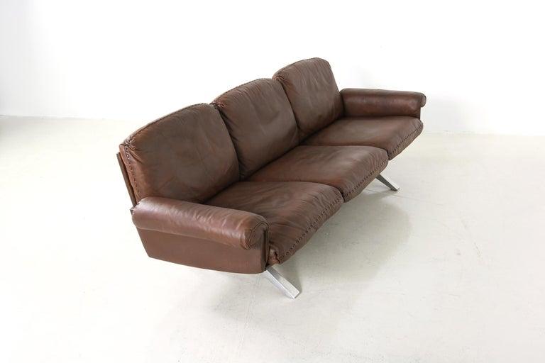 Vintage 1970s Vintage De Sede DS 31 Sofa Set Dark Cognac Brown Leather Couch For Sale 3