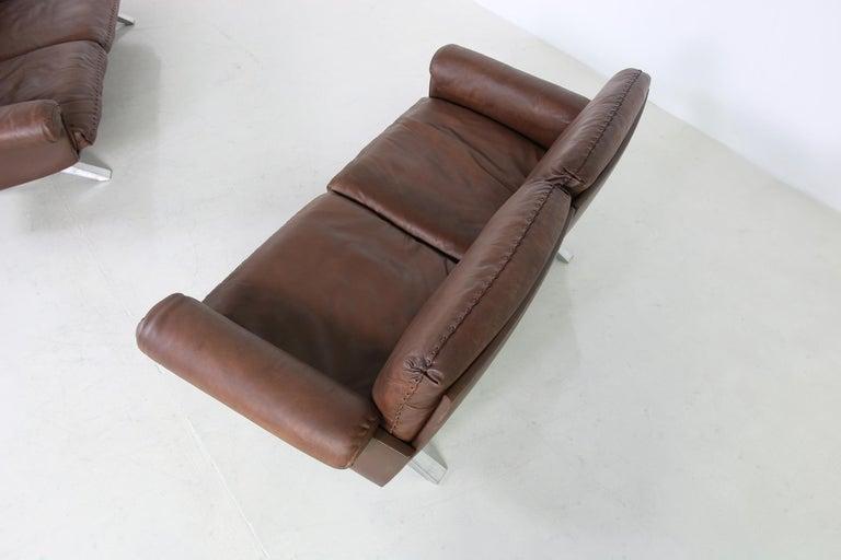 Vintage 1970s Vintage De Sede DS 31 Sofa Set Dark Cognac Brown Leather Couch For Sale 4