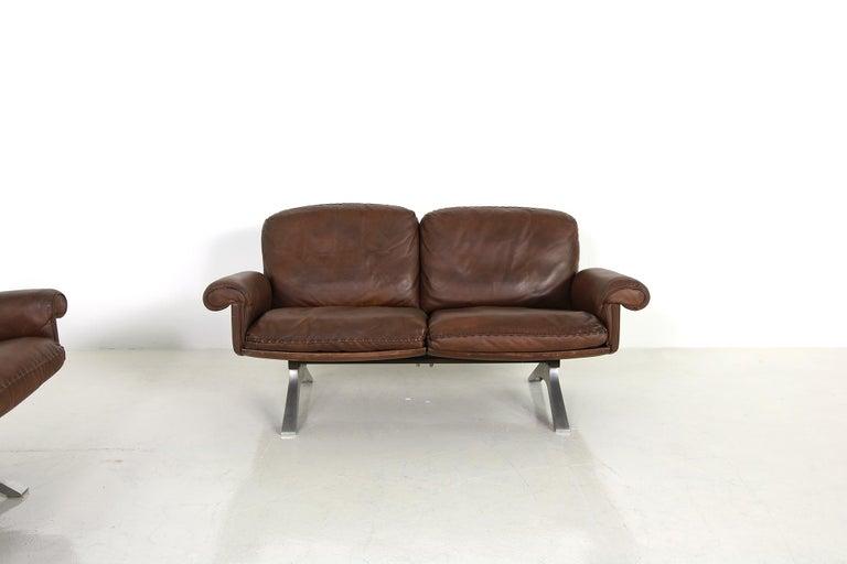 Vintage 1970s Vintage De Sede DS 31 Sofa Set Dark Cognac Brown Leather Couch For Sale 5