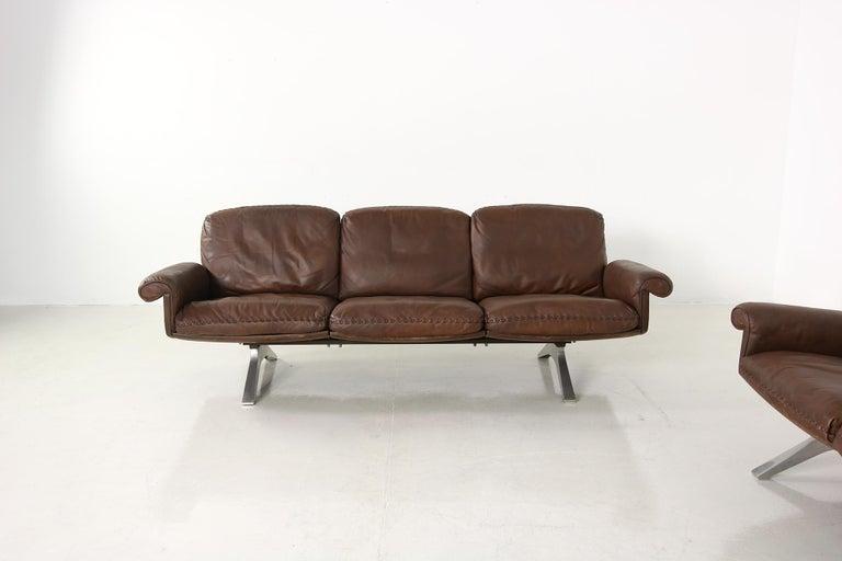 Modern Vintage 1970s Vintage De Sede DS 31 Sofa Set Dark Cognac Brown Leather Couch For Sale