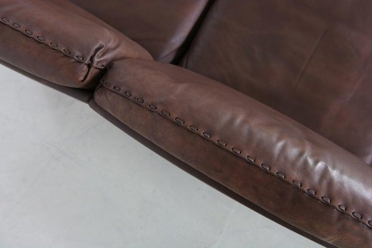 Vintage 1970s Vintage De Sede DS 31 Sofa Set Dark Cognac Brown Leather Couch In Good Condition For Sale In Hamminkeln, DE