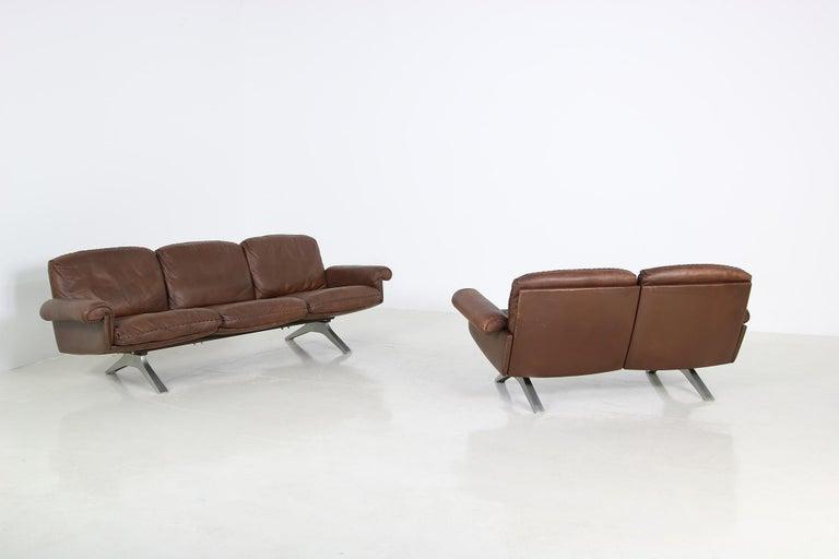 Late 20th Century Vintage 1970s Vintage De Sede DS 31 Sofa Set Dark Cognac Brown Leather Couch For Sale