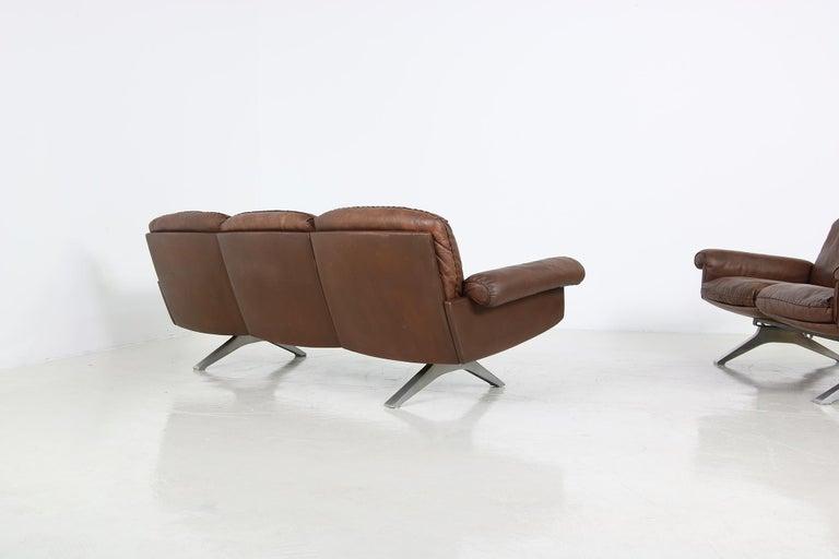 Metal Vintage 1970s Vintage De Sede DS 31 Sofa Set Dark Cognac Brown Leather Couch For Sale