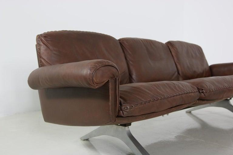 Vintage 1970s Vintage De Sede DS 31 Sofa Set Dark Cognac Brown Leather Couch For Sale 1