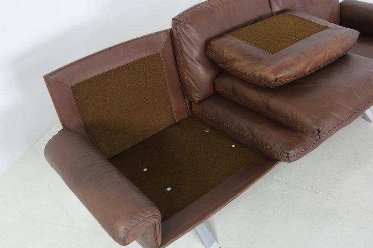 Vintage 1970s Vintage De Sede DS 31 Sofa Set Dark Cognac Brown Leather Couch For Sale 2