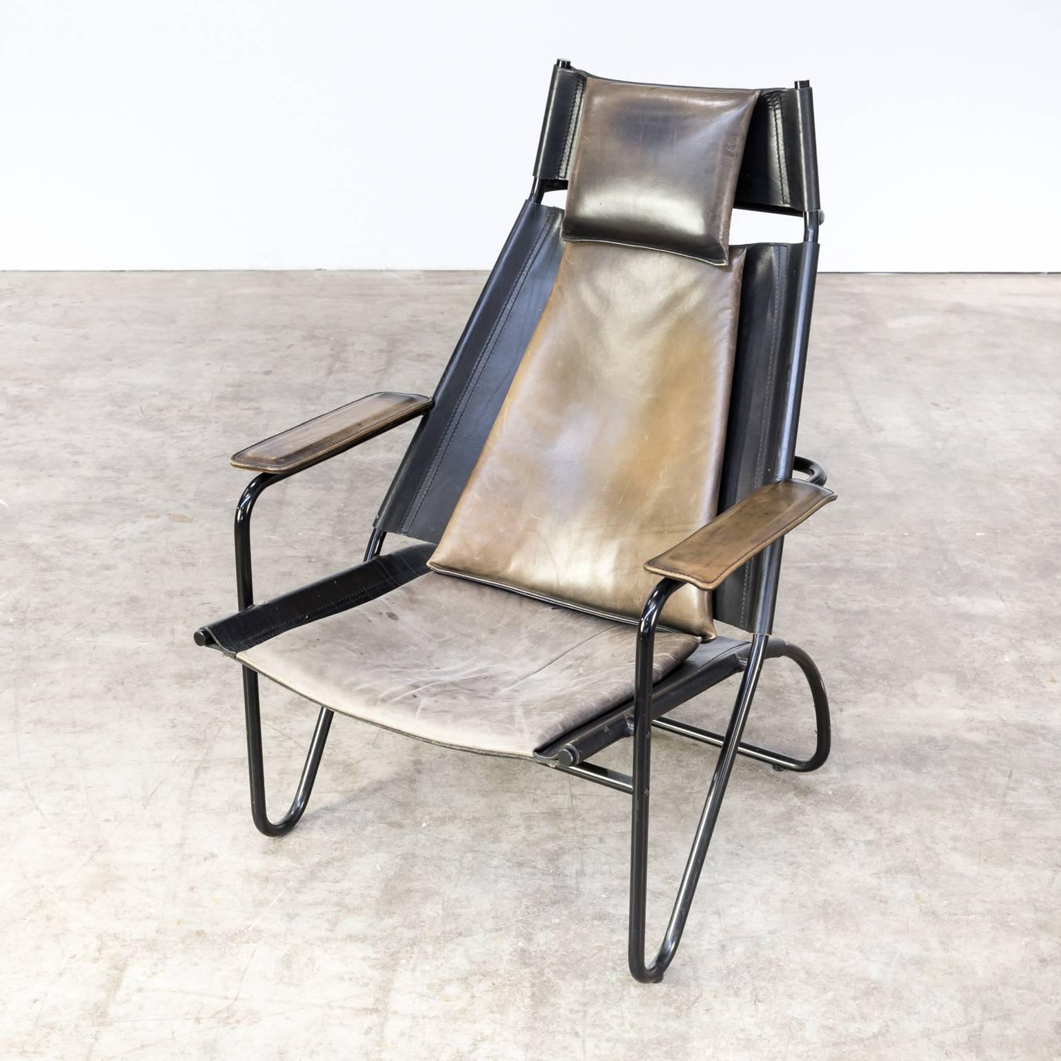 Fauteuil Retro Design.Beautiful And Rare 1980s Design Leather Fauteuil