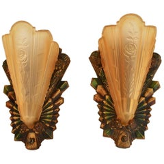 Beautiful and Rare Pair of Art Deco Sconces