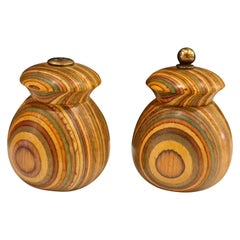 Beautiful and Rare Zebra Wood Salt and Pepper Shakers with Brass Fittings