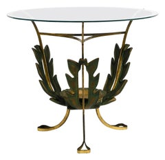 Beautiful and Very Rare Italian Midcentury Glass Brass Floral Side Table