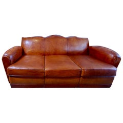 Beautiful and Very Rare Large French 1920s Leather Club Sofa
