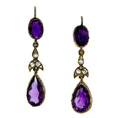 Beautiful Antique Amethyst and Diamond Earpendants