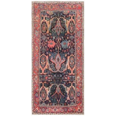 "Beautiful Antique Blue Background Persian Bidjar Carpet. Size: 5' 2"" x 11' 7"""