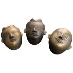 Beautiful Antique Bronze Female Beauty Box Trio-Collected Mumbai, 1960s