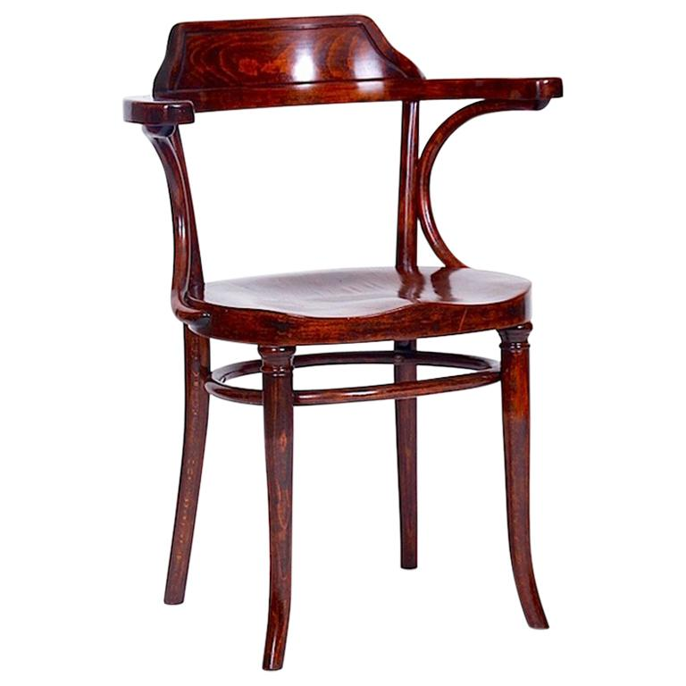 """Beautiful Antique Chair """"Banker"""", Labelled """"Thonet"""""""