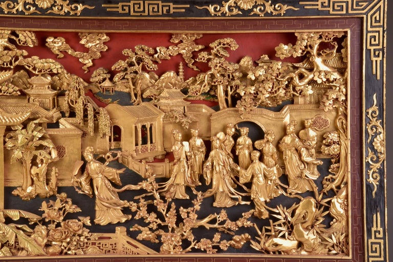 Antique Chinese gold gilt hand carved wooden wall panel, hand carved with deep relief in very good condition, circa 1920.