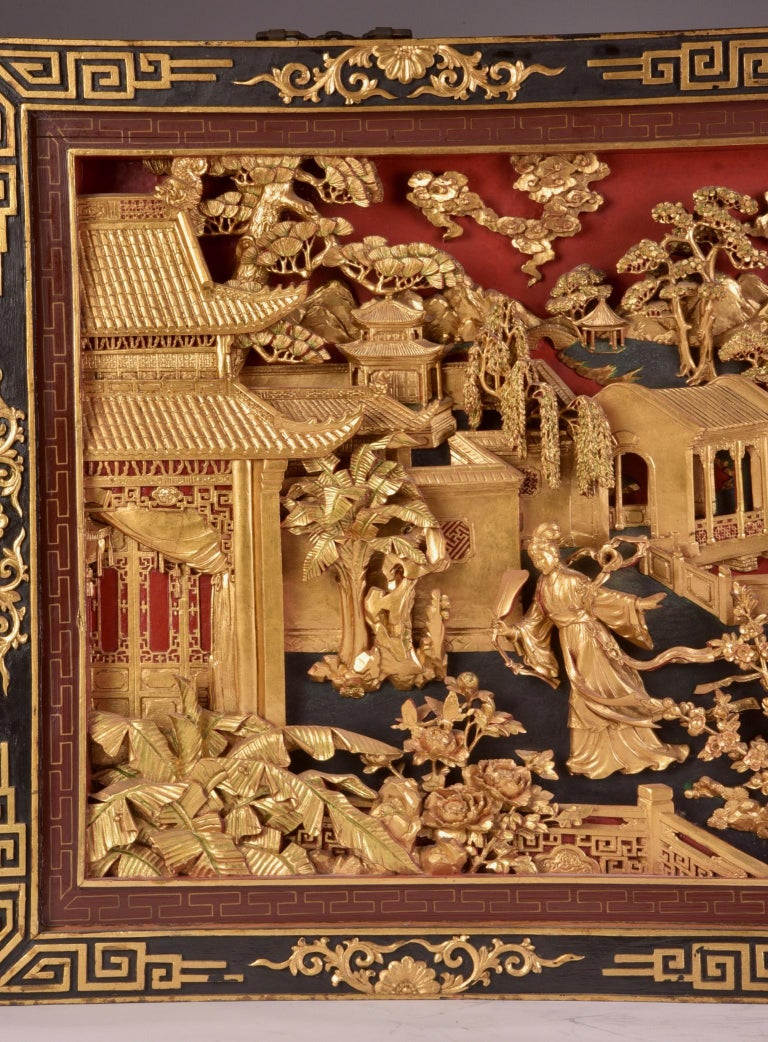 Asian Beautiful antique Chinese Gold Gilt Hand Carved Wooden Wall Panel