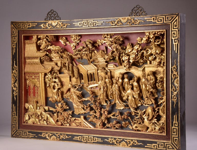 Giltwood Beautiful antique Chinese Gold Gilt Hand Carved Wooden Wall Panel