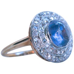 Beautiful Antique Diamond and Sapphire Cabochon Engagement Ring Cluster Ring