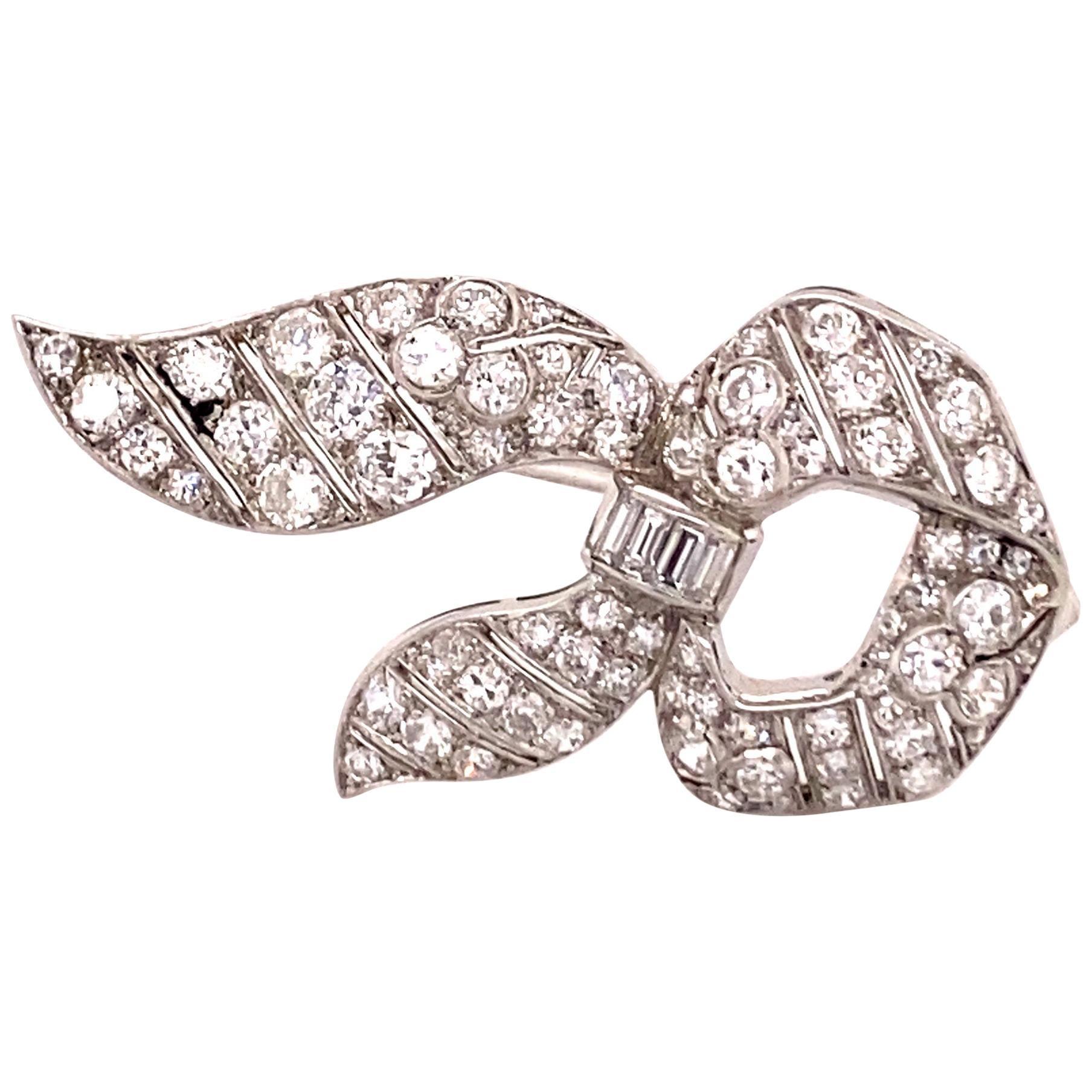 Beautiful Antique Diamond Platinum Ribbon Brooch