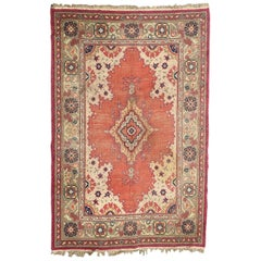 Beautiful Antique European Hand Knotted Oushak Design Rug