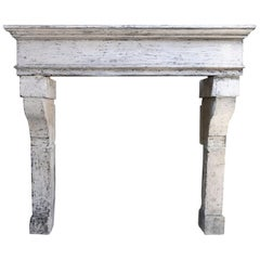 Beautiful Antique Fireplace of French Limestone, 19th Century, Campagnarde Style
