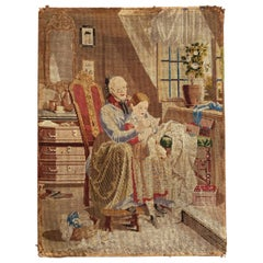 Beautiful Antique French Fine Needlepoint Tapestry