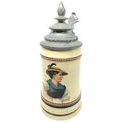 Beautiful Antique Germany Lidded Beer Stein Bavarian Female, 1900s