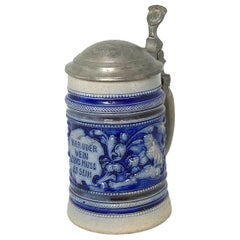 Beautiful Antique Germany Lidded Beer Stein Westerwald Salt Glazed, 1900s