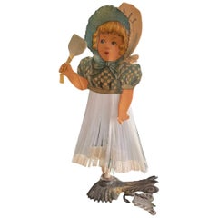 Beautiful Antique Girl Christmas Tree Clip-On Ornament, German, 1900s