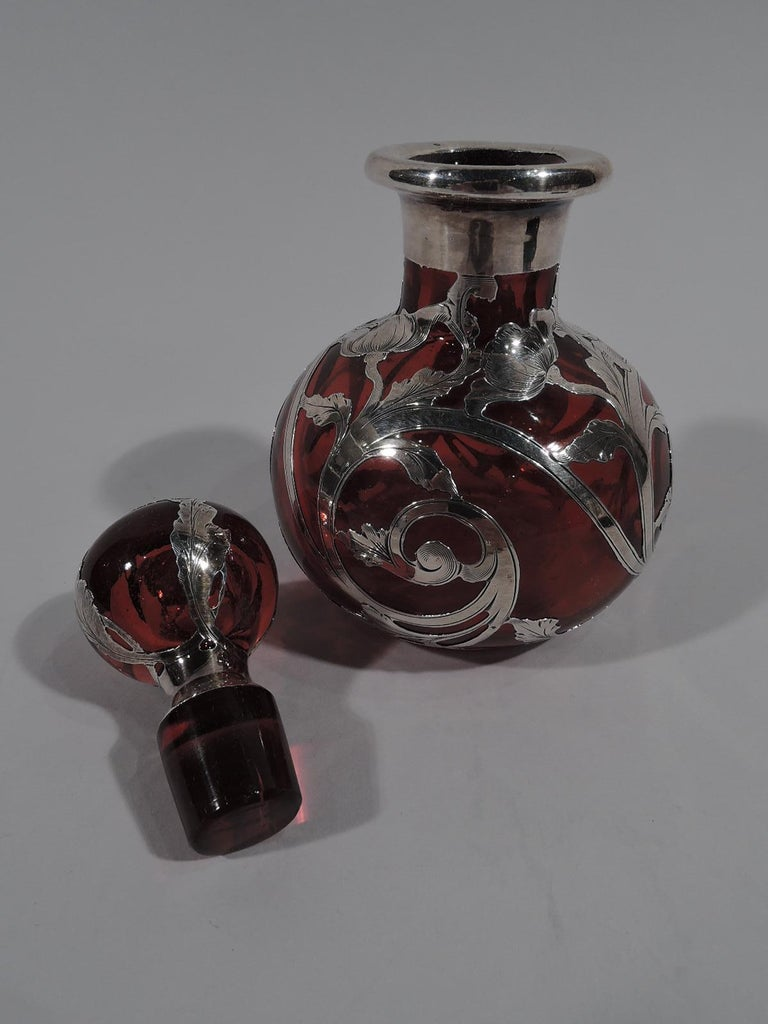 Art Nouveau Beautiful Antique Gorham Classical Red Silver Overlay Perfume For Sale