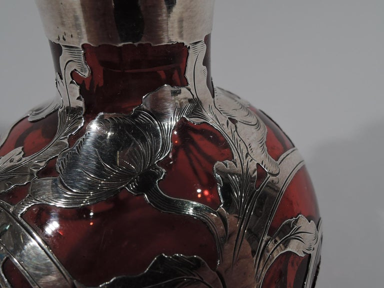 North American Beautiful Antique Gorham Classical Red Silver Overlay Perfume For Sale