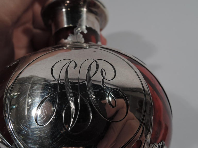 20th Century Beautiful Antique Gorham Classical Red Silver Overlay Perfume For Sale