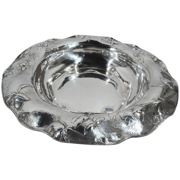 Beautiful Antique Gorham Martele Silver Bowl with Strewn Roses For Sale