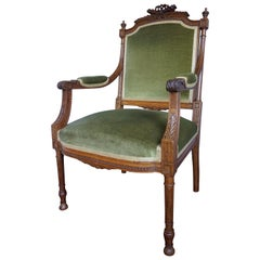 Beautiful Antique Hand Carved Nutwood Chair / Armchair With Green Upholstery