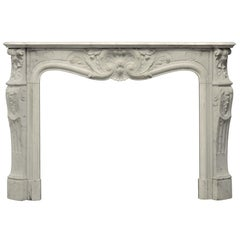 Beautiful Antique Louis XV Fireplace Mantel in Carrara White Marble