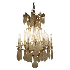 Beautiful Antique Louis XV Style 12-Light Rock Crystal Chandelier, circa 1880