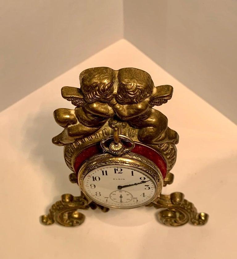 Beautiful Antique Loving Cherubs Gold Metal Pocket Watch Holder or Porte Monte For Sale 5