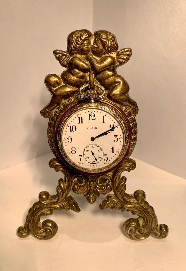 Beautiful Antique Loving Cherubs Gold Metal Pocket Watch Holder or Porte Monte For Sale 6