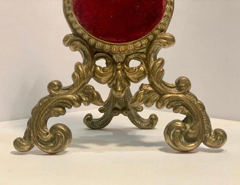 Women's or Men's Beautiful Antique Loving Cherubs Gold Metal Pocket Watch Holder or Porte Monte For Sale