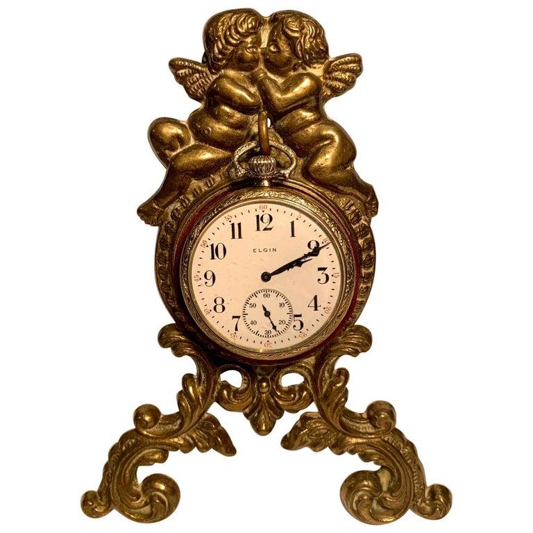 Beautiful Antique Loving Cherubs Gold Metal Pocket Watch Holder or Porte Monte For Sale