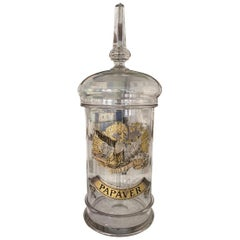 Beautiful Antique Pharmacy Glass Storage Jar, France