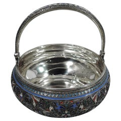 Beautiful Antique Russian Silver & Enamel Basket