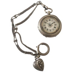 Beautiful Antique Silver Fob Watch with Its Own Pocket Watch Chain