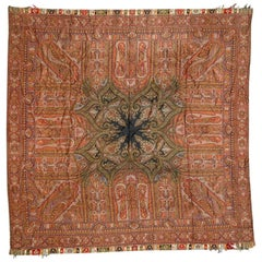 Beautiful Antique Square French Kashmir Shawl