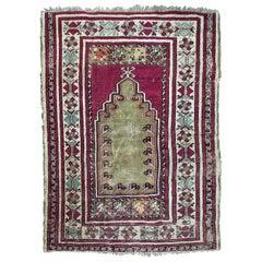 Beautiful Antique Turkish Anatolian Prayer Rug