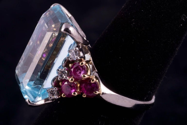 Retro Beautiful Aquamarine and Ruby and Diamond Ring For Sale