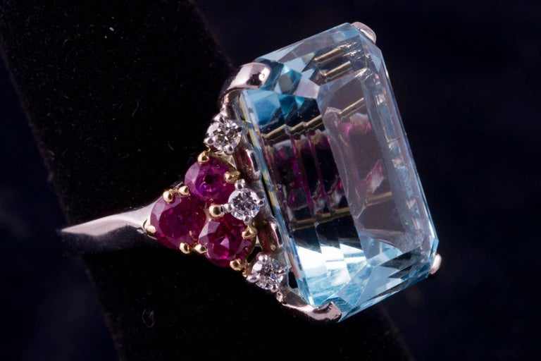 Emerald Cut Beautiful Aquamarine and Ruby and Diamond Ring For Sale