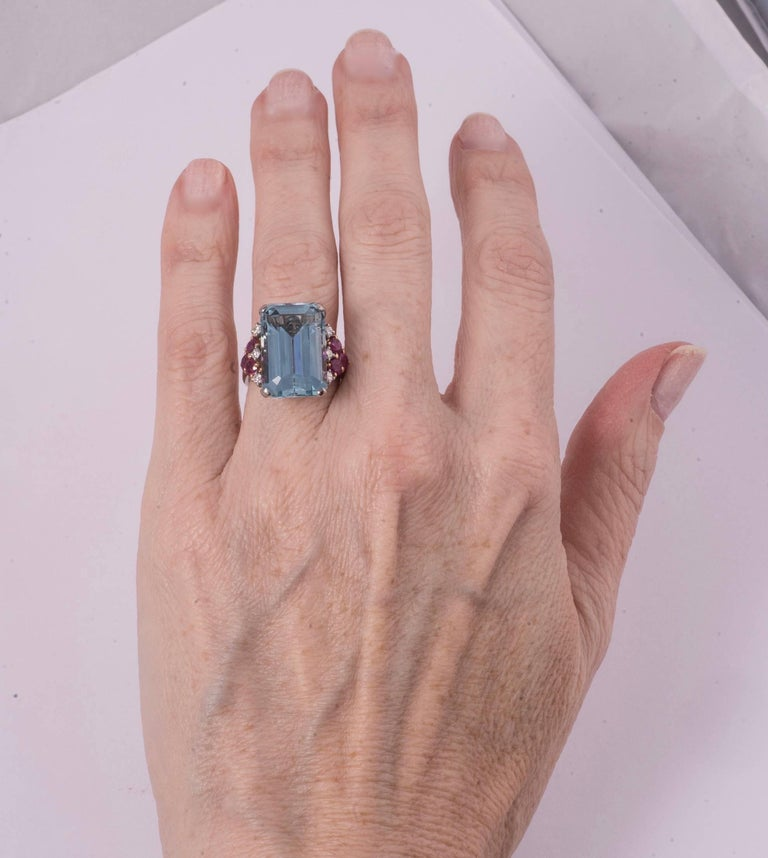 Women's or Men's Beautiful Aquamarine and Ruby and Diamond Ring For Sale