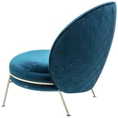 Beautiful Armchair Velvet Champagne Satined Finishing Amaretto Collection